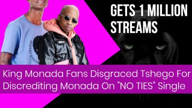 """Photo of King Monada Fans Disgraced Tshego for discrediting Monada on the song """"No ties"""" going gold announcement."""