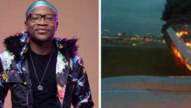 Photo of VIDEO: Master KG escapes death as airplane engine explodes
